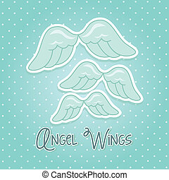 angel wings over blue background. vector illustration