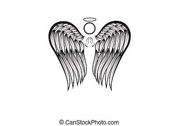 Angel wings praying logo