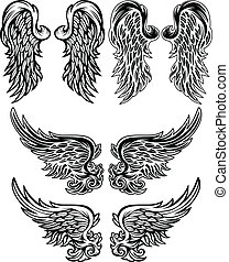 Angel Wings Vector illustrations - Wings of Angels Ornate...