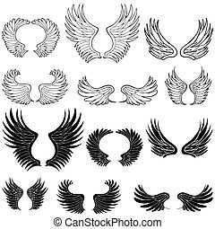 Angel Wings - Wing set in black and white.