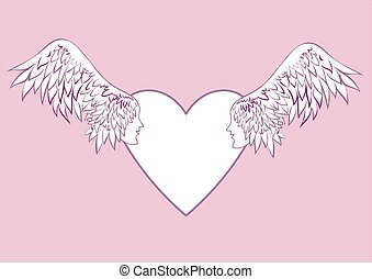 Angel wings with a human face in the frame in the shape of a heart.