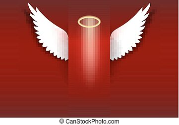 Angel wings with golden halo hovering on the red background