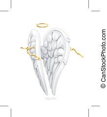 Angel wings with golden nimbus