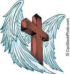 Angel wings with wooden cross