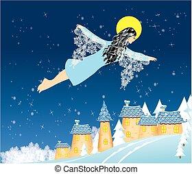 Angel winter and Christmas