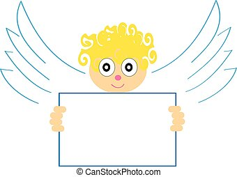 Angel with a sign on white background