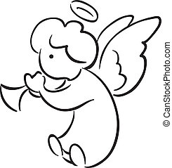 Angel with a trumpet - Black and white sketch of cute little...