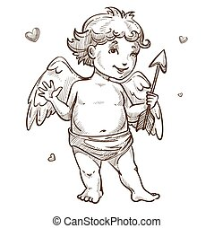 Angel with arrow and wings Valentines day cupid sketch - ...