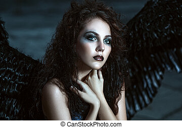 Angel with black wings - Pretty girl-demon with black wings...