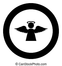 Angel with fly wing icon in circle round black color vector illustration flat style image