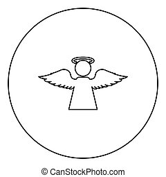 Angel with fly wing icon in circle round outline black color vector illustration flat style image
