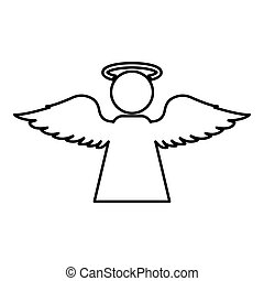 Angel with fly wing icon outline black color vector illustration flat style image