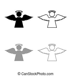 Angel with fly wing icon outline set black grey color vector illustration flat style image