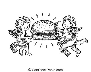 Angel with Hamburger engraving vector illustration. Scratch...