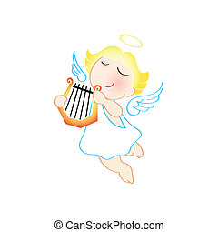 Angel with harp - Funny cartoon angel with harp isolated...
