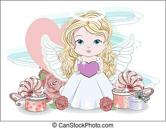 Angel with heart and gifts in roses
