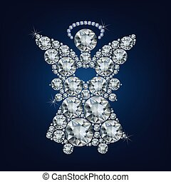 Angel with heart made up a lot of diamonds