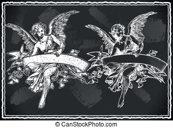 Angel with Holding a Banner on Vintage BlackBoard