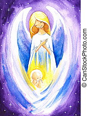 Angel with Jesus - Angel protect a baby Jesus.Picture...