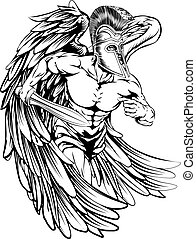 Angel with sword - An illustration of a warrior angel ...
