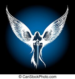 Angel with Sword - Angel with sword against dark blue ...