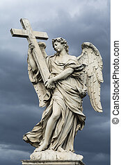 Angel with the Cross, one of the ten statues at bridge of angels in Rome, against stormy sky