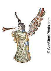 Angel with trumpet, baroque polychromed sculpture.