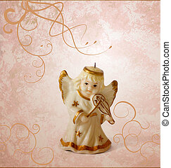 angel with violin decor on grunge brown background