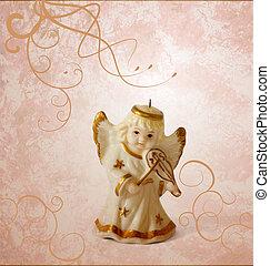 angel with violin decor on grunge brown background