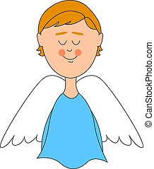 Angel with white wings, illustration, vector on white background.