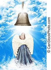 Angel With White Wings Standing Beneath A Church Bell In Heaven