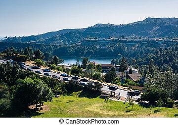 angele, 貯水池, 湖, ドライブしなさい, los, 峡谷, ハリウッド, 光景