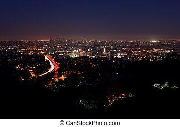 angeles, 城市, 夜晚, los