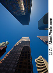 angeles, bâtiments, gratte-ciel, la, en ville, los