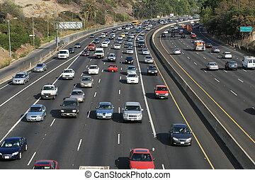 angeles, freeway., usa., los, tráfego, hollywood, 101, ...