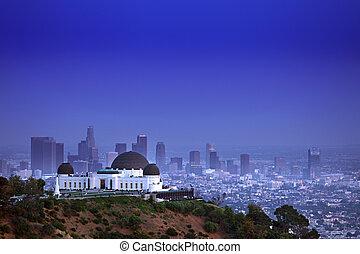 angeles, hvězdárna, los, kalifornie, mezník, griffith