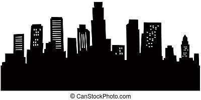 angeles, los, skyline, cartoon