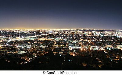 angeles, los, skyline, noturna