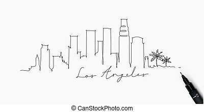 angeles, los, stylo, silhouette, ligne