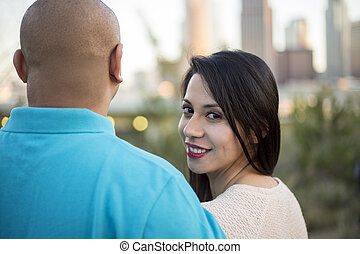 angeles, regarder, couple, latino, los