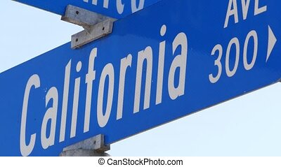 angeles, route, parcours, destination., symbole, rue, los, californie, lettrage, crossroad., poteau indicateur, signe, intersection, vacations., usa, voyage, été, 101, touriste, ville, nameboard, texte