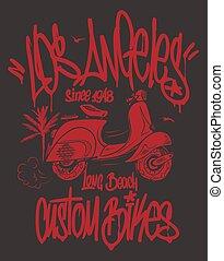 angeles, scooter, etichetta, mano, t-shirt, los, vettore, graffito, disegnato, design.