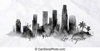 angeles, silhouette, los, inchiostro