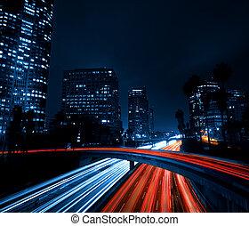 angeles, stadt, autobahn, los, sonnenuntergang, verkehr, ...