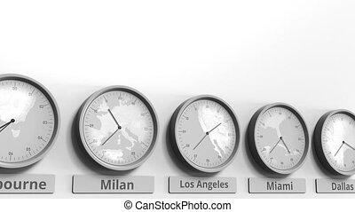 angeles, usa, horloge, projection, dans, los, animation, temps, conceptuel, mondiale, rond, zones., 3d