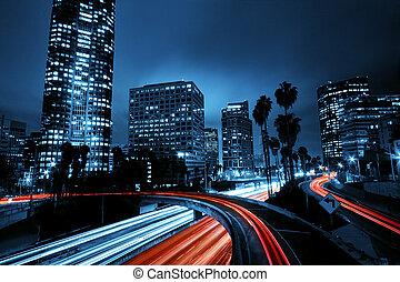 angeles, város, autópálya, elszabadult, napnyugta, forgalom...