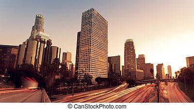 angeles, város, autópálya, elszabadult, napnyugta, forgalom, városi