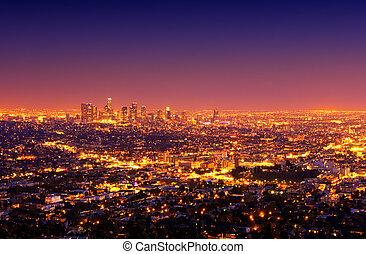angeles, város, napnyugta, elszabadult, városi