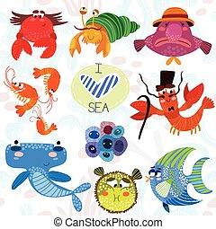 angelfish, brillante, style., krill, cangrejo ermitaño, percebe, ilustración, collection., lindo, mar, blowfish, dibujado, blobfish, sphyrna, mano, pufferfish, langosta