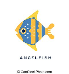 Angelfish, sea fish geometric flat style design vector Illustration